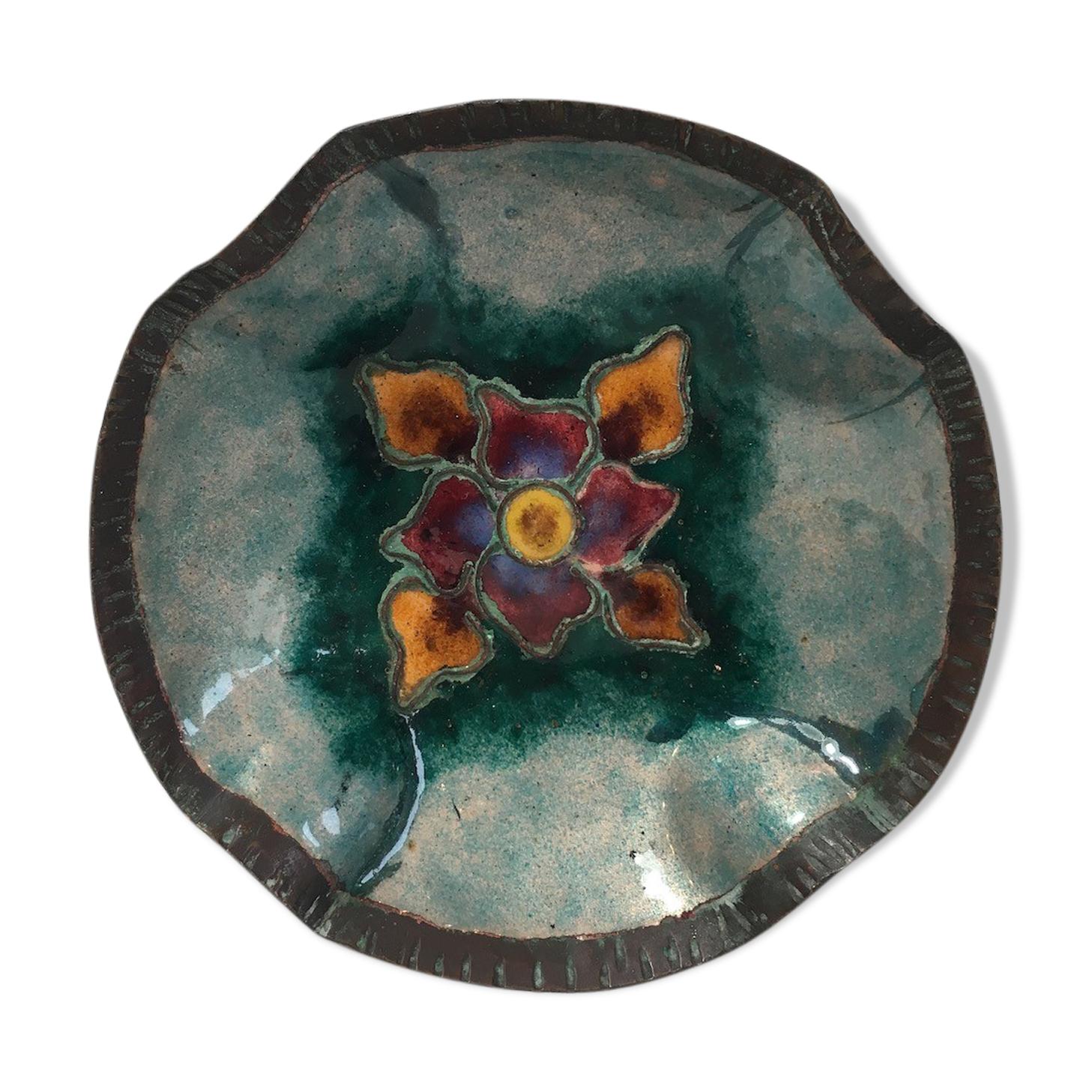 Coupelle en métal émaillé avec motif floral artisanat d'art