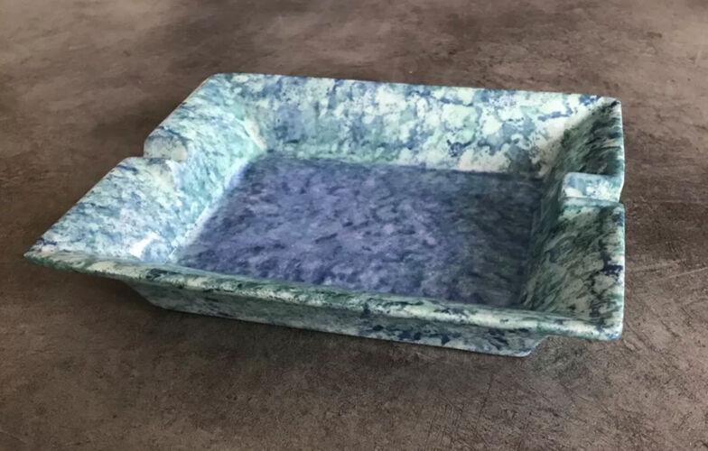 Cendrier en porcelaine moderniste laure japy rectangulaire nuances bleu/vert