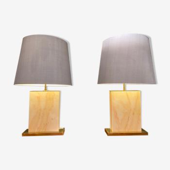 Paire de lampes XL en marbre et laiton 1970