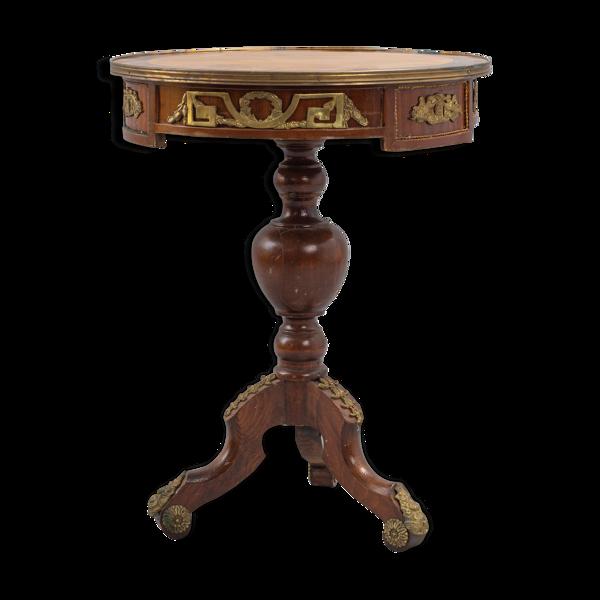 Guéridon circulaire tripode en bois et bronze