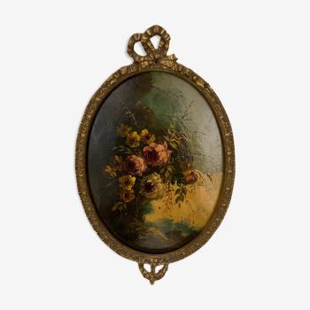 Peinture à l'huile motif florales