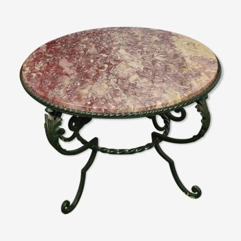 Table basse ronde marbre rose et fer forgé