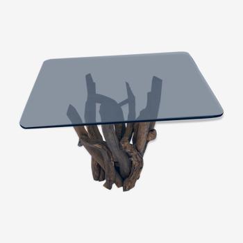Table de salon carrée en bois flotté avec plateau en verre fumé