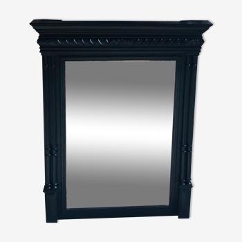 Trumeau à miroir biseauté - cadre bois noir ornementé - XIXe siècle