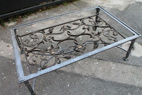 Superbe table basse en fer forgé Roche-Bobois