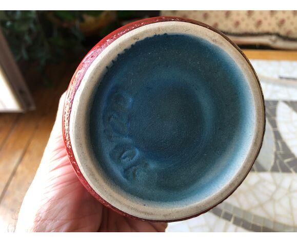 Vase diabolo en céramique rouge des années 50