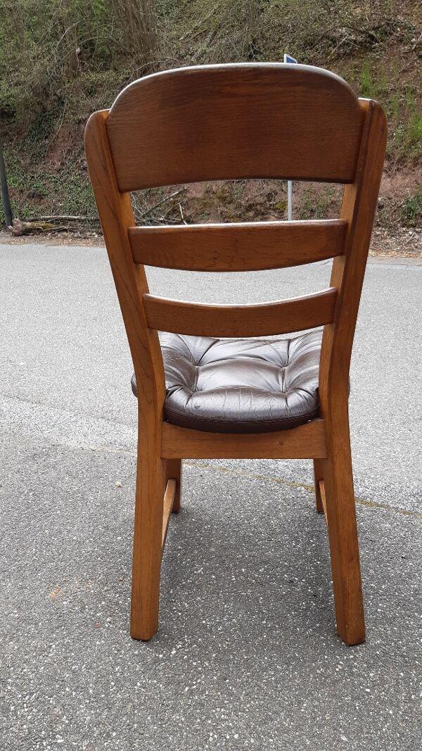Lot de 4 chaises brutalistes chêne et cuir