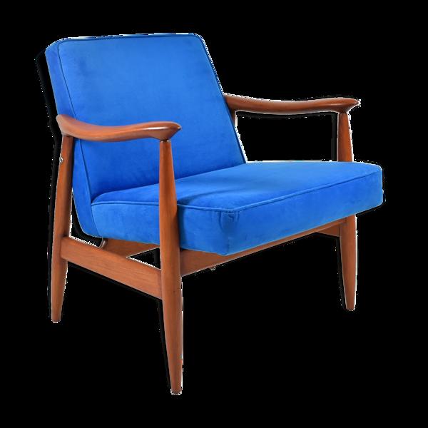 Fauteuil du milieu du siècle, designer E.Homa, restauré, bleu électrique