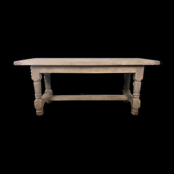 Selency Table de ferme en chêne massif à pieds tournés avec 2 allongé aéro gommée