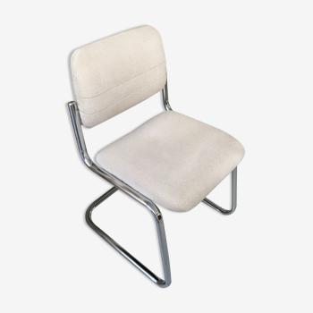 Chaise de bureau Strafor inox et tweed gris clair