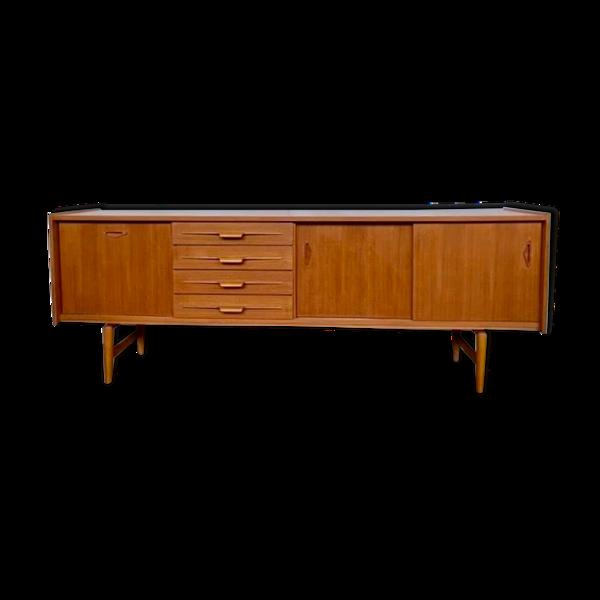 Enfilade en teck blond scandinave vintage moderniste annee 1960 longueur 230 cm