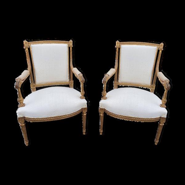 Selency Paire de fauteuils Louis XVI bois doré