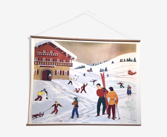 Affiche d'écolier 1950 «Voici l'hiver»