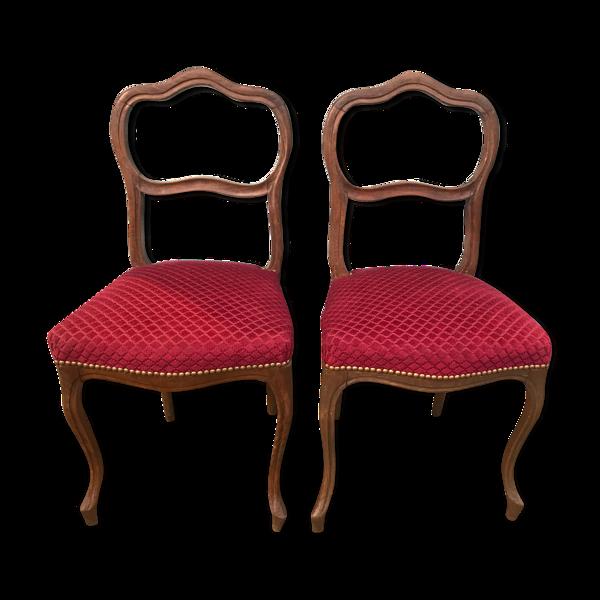 Paire de chaises velours rouge Louis XV