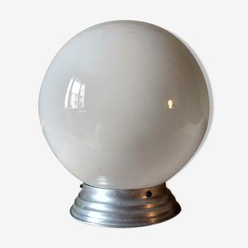 1940s ceiling light, white opaline globe