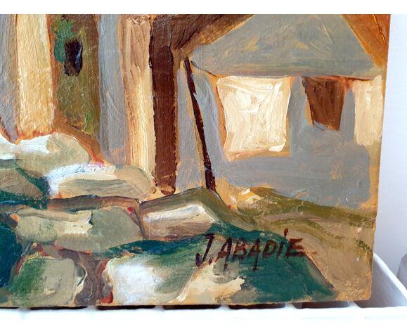 Huile sur toile - Village d'Eguières Jean Abadie (1921-2010)