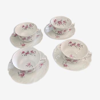 4 tasses et sous-tasses thé café en porcelaine Bernardaud Limoges fleurs