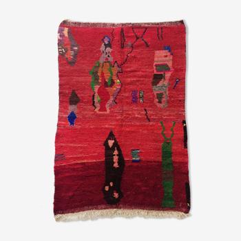 Tapis berbère marocain Boujaad rouge à motifs colorés 256x152cm