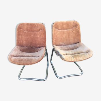 Paire de fauteuils vintage en acier tubulaire chromé