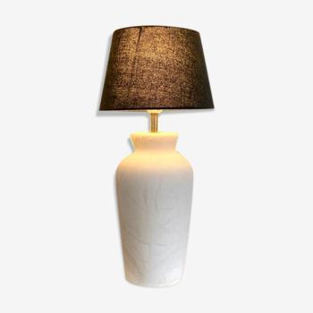 Lampe en marbre blanc et coton anthracite