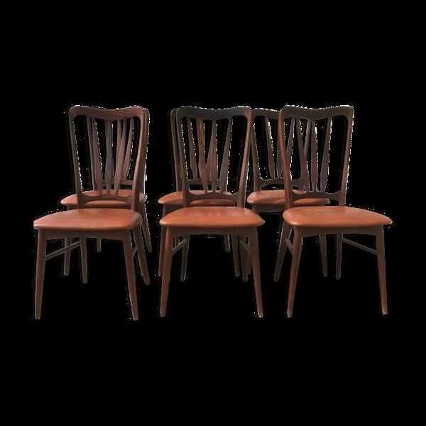 Selency Suite de 6 Chaises Danoises en palissandre Estampillées XXème siècle