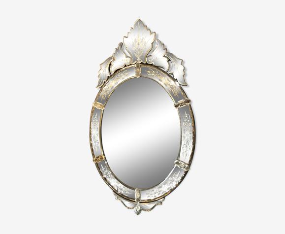 Miroir vénitien haut 103 x58 cm époque XIXè