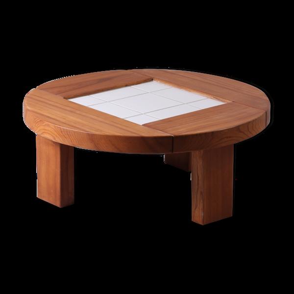Table basse ronde en orme et céramique