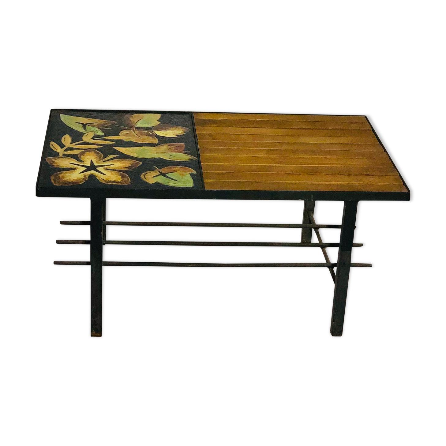 Table basse vintage 1970 - Céramique, chêne et métal