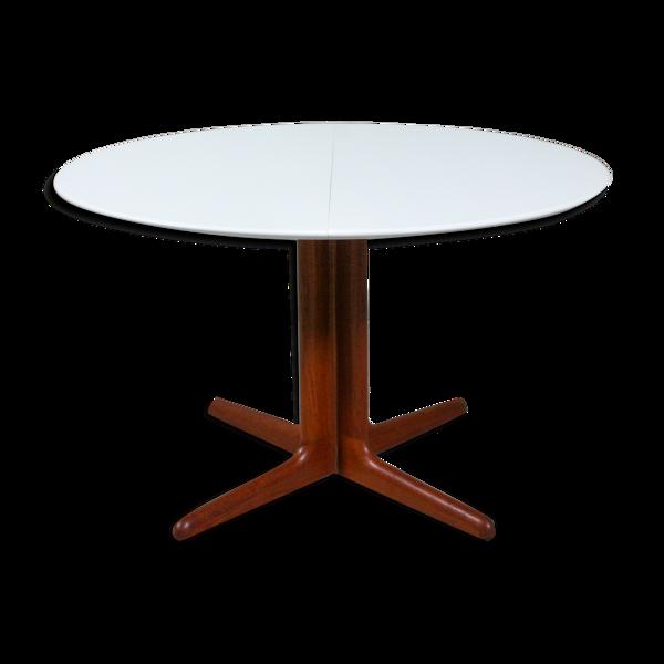 Selency Table ronde en teck danois et table à manger blanche, années 1960