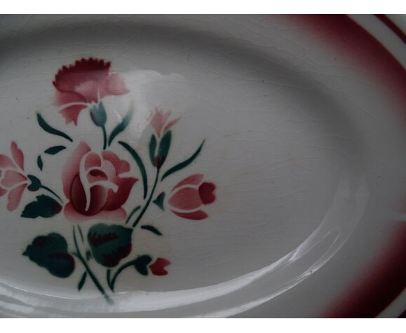Ravier en faïence de Digoin Sarreguemines-Décor de fleurs rose vers 1940