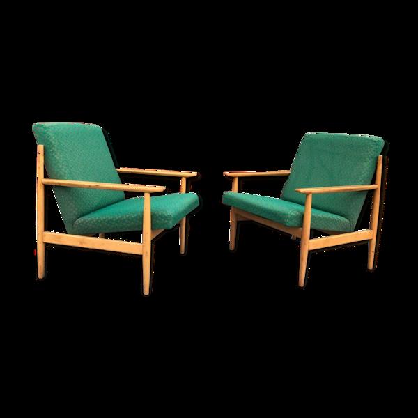 Pair of mid-century TON armchairs in Danish style, 1970´s