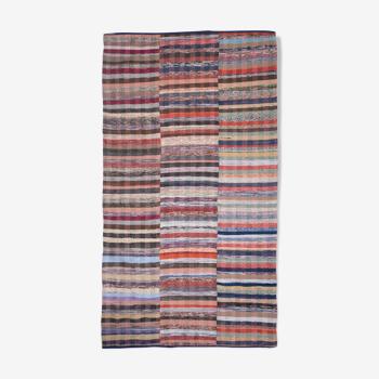 Vintage chaput striped geometric blue, white, and yellow wool kilim rug, 1970s