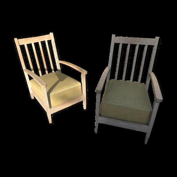 Paire de fauteuils chêne blanchi