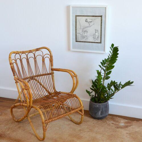 Fauteuil en rotin et bambou par Dirk van Sliedregt pour Rohe Noordwolde, 1950s
