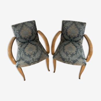 Paire de fauteuils bridge tissu vintage