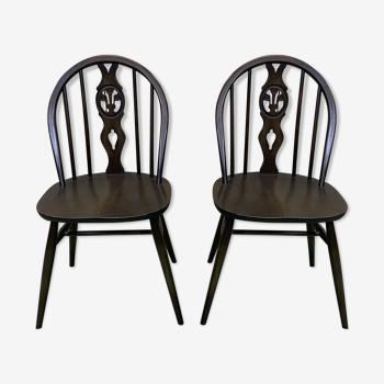 Paire de chaises Ercol des années 70 en hêtre