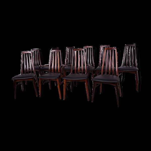 Lot de 10 chaises Eva de Niels Koefoed pour Koefoeds Hornslet, années 1960