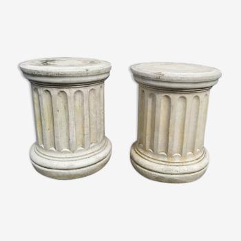 Pair of low Columns of Greco-Roman style concrete garden