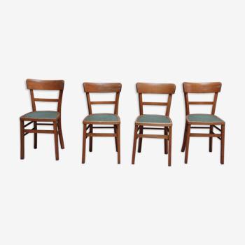 Set de 4 anciennes chaises bistro
