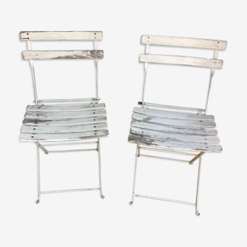 Pair of folding garden chairs
