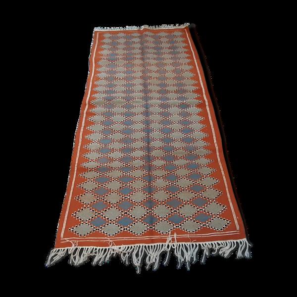 Tapis kilim marocain orange, tapis berbère fait à la main
