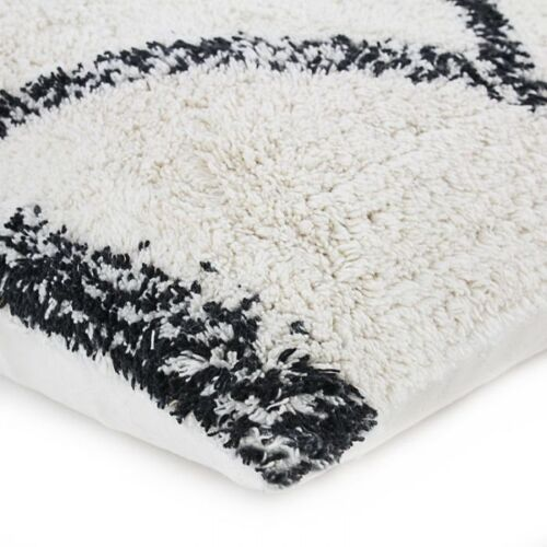 Coussin berbere 40x60 blanc losange noir