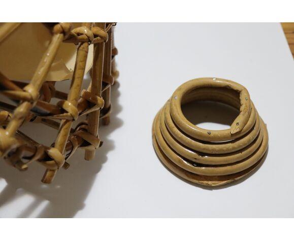 Suspension vintage en rotin forme cloche