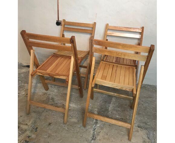 Lot de 4 chaises pliantes vintage en pin
