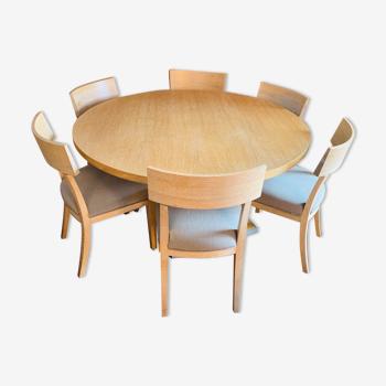 Table ronde en chêne brossé avec 6 chaises B&B Italia - collection Apta pour Maxalto