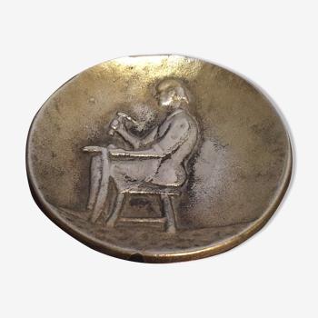 Trinket bowl in bronze craft signed shoemaker