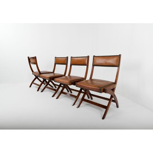 Military Campaign Leather Dining Chairs, Leather Campaign Dining Chair