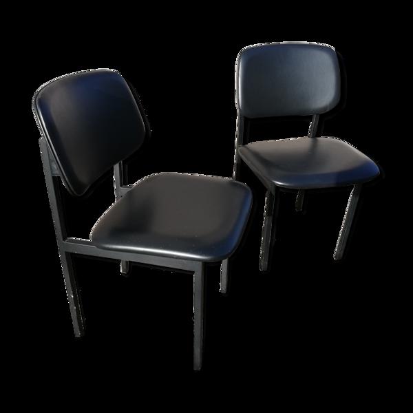 Paire de chaises vintage skaï noir
