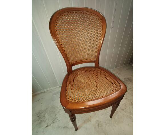 Set de 2 chaises en merisier cannées