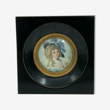 Miniature peinte a la main XlXeme j callave a identifier n 60te portrait
